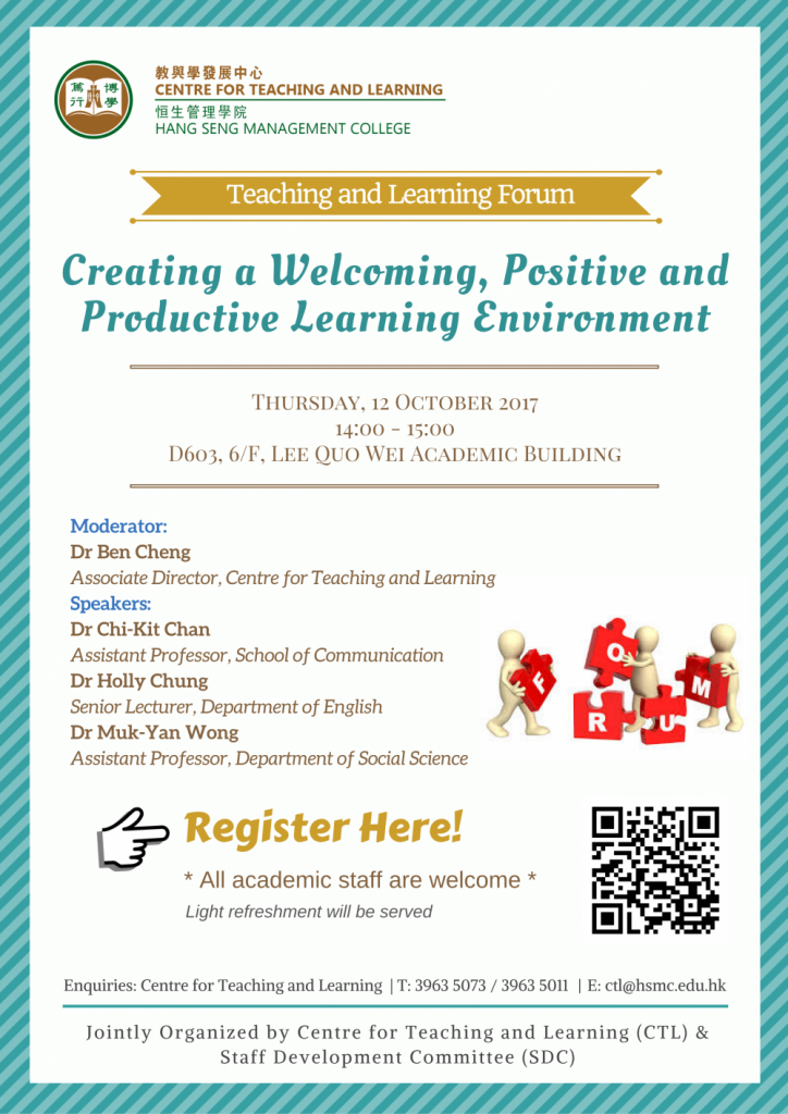 Creating a Welcoming, Positive and Productive Learning Environment
