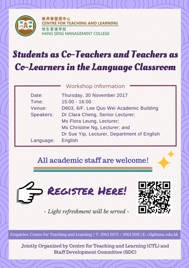 Students as Co-Teachers and Teachers as Co-Learners in the Language Classroom
