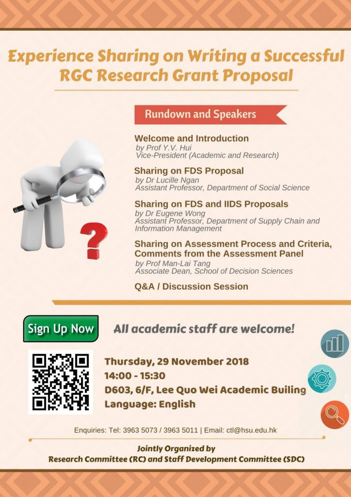Experience Sharing on Writing a Successful RGC Research Grant Proposal