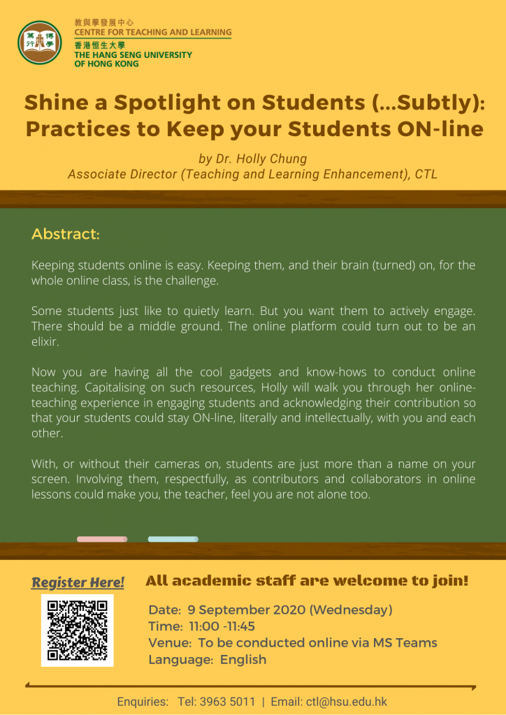 Shine a Spotlight on Students (…Subtly): Practices to Keep your Students ON-line